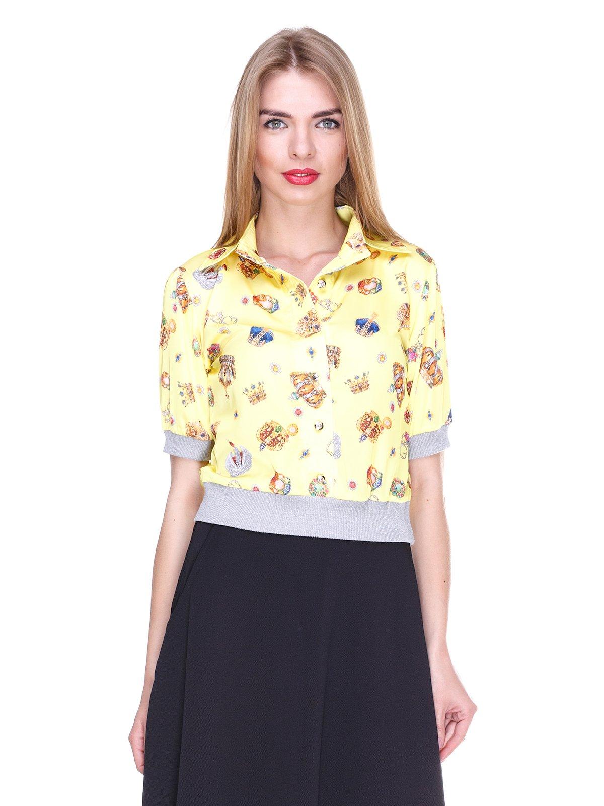 Блуза жовта з принтом | 2273964