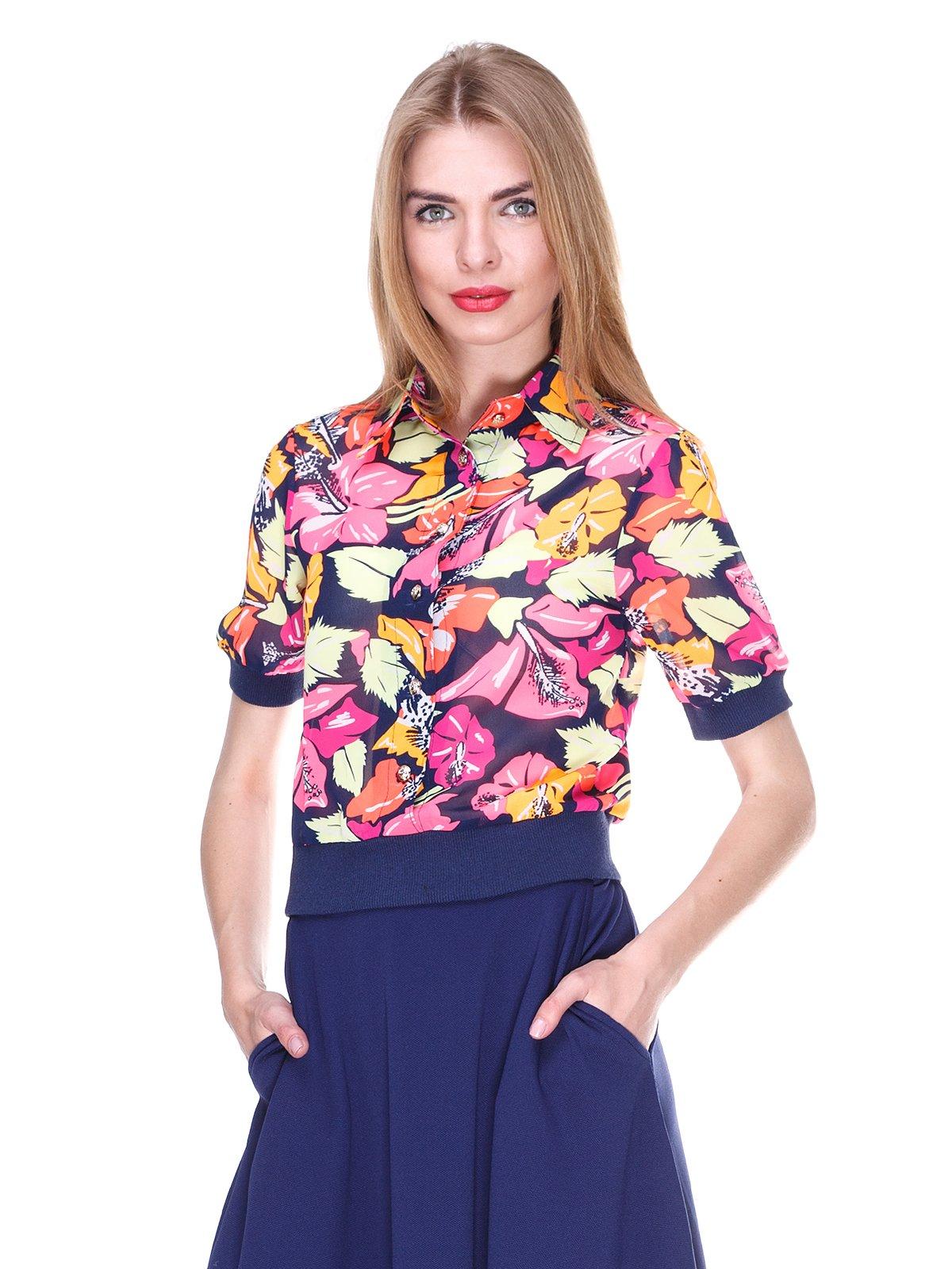 Блуза темно-синяя с цветочным принтом | 2273972