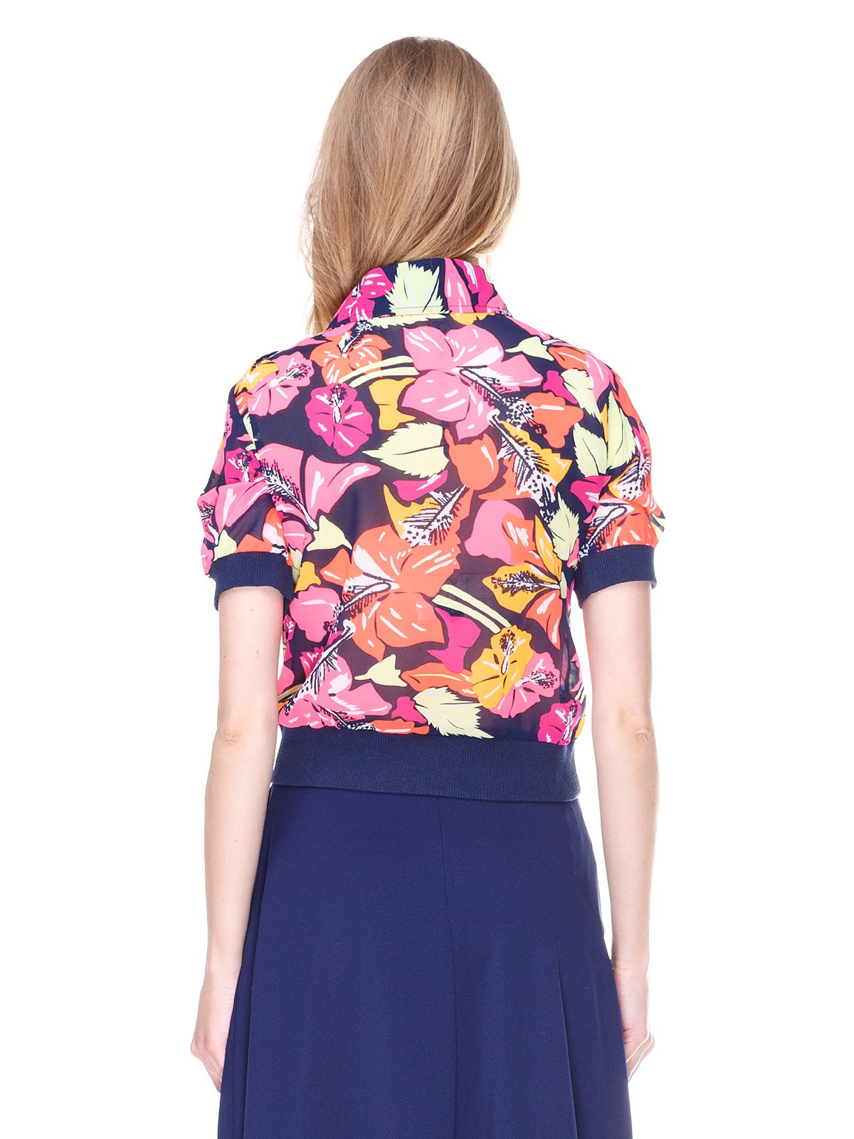 Блуза темно-синяя с цветочным принтом | 2273972 | фото 2