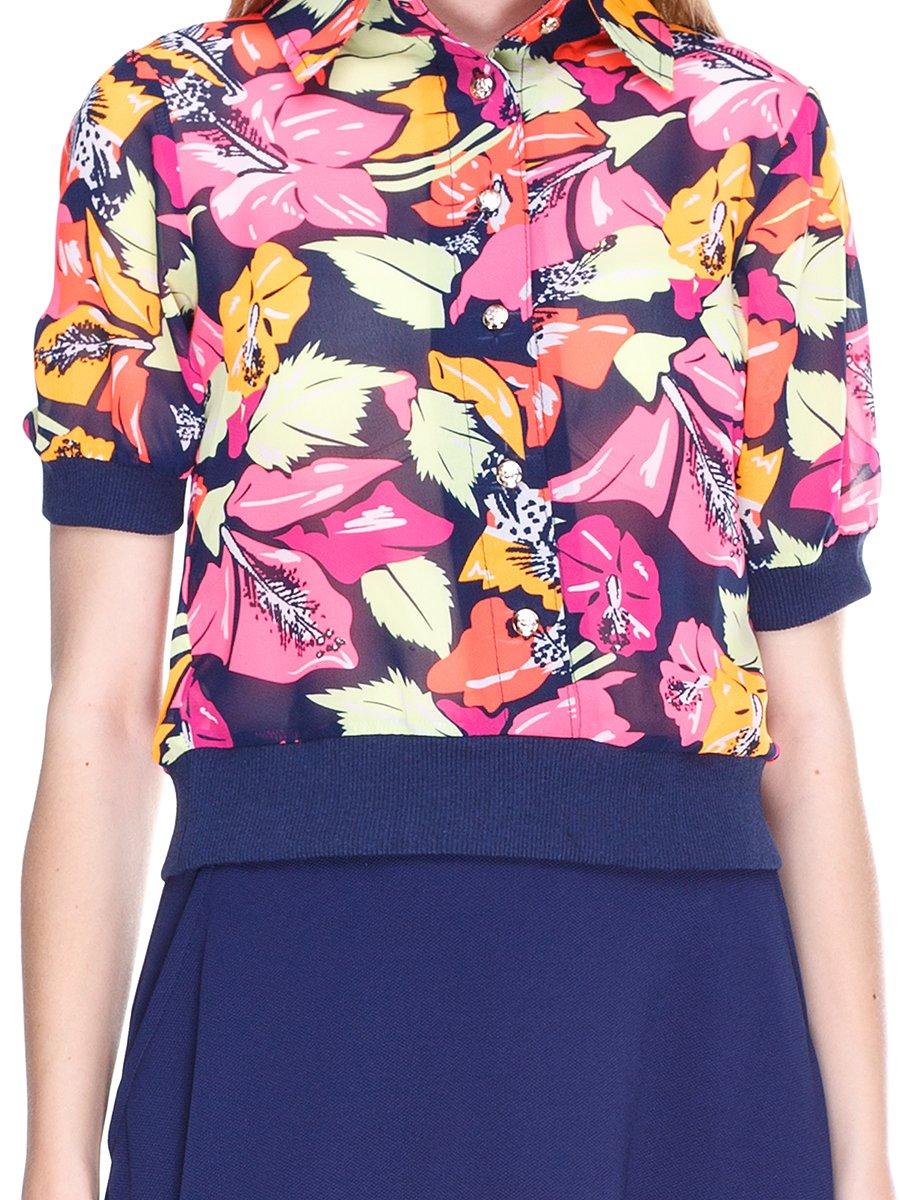 Блуза темно-синяя с цветочным принтом | 2273972 | фото 3