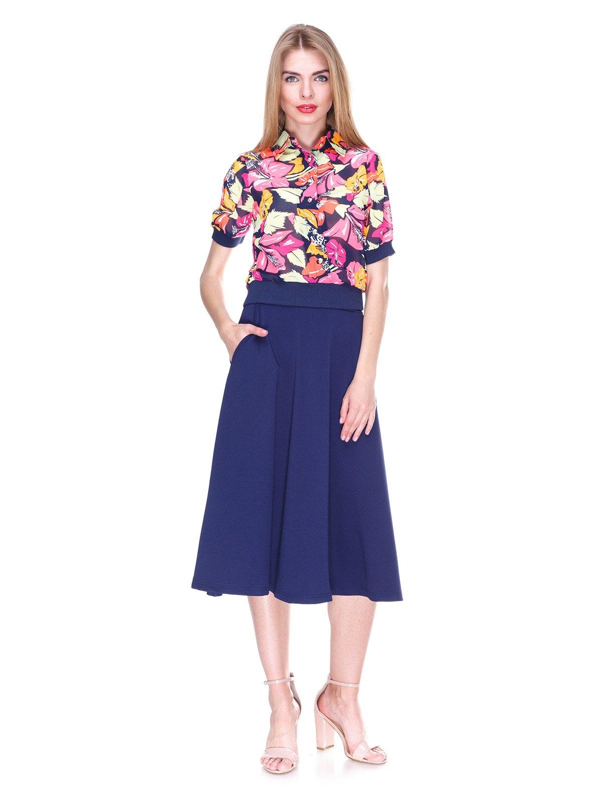Блуза темно-синяя с цветочным принтом | 2273972 | фото 4