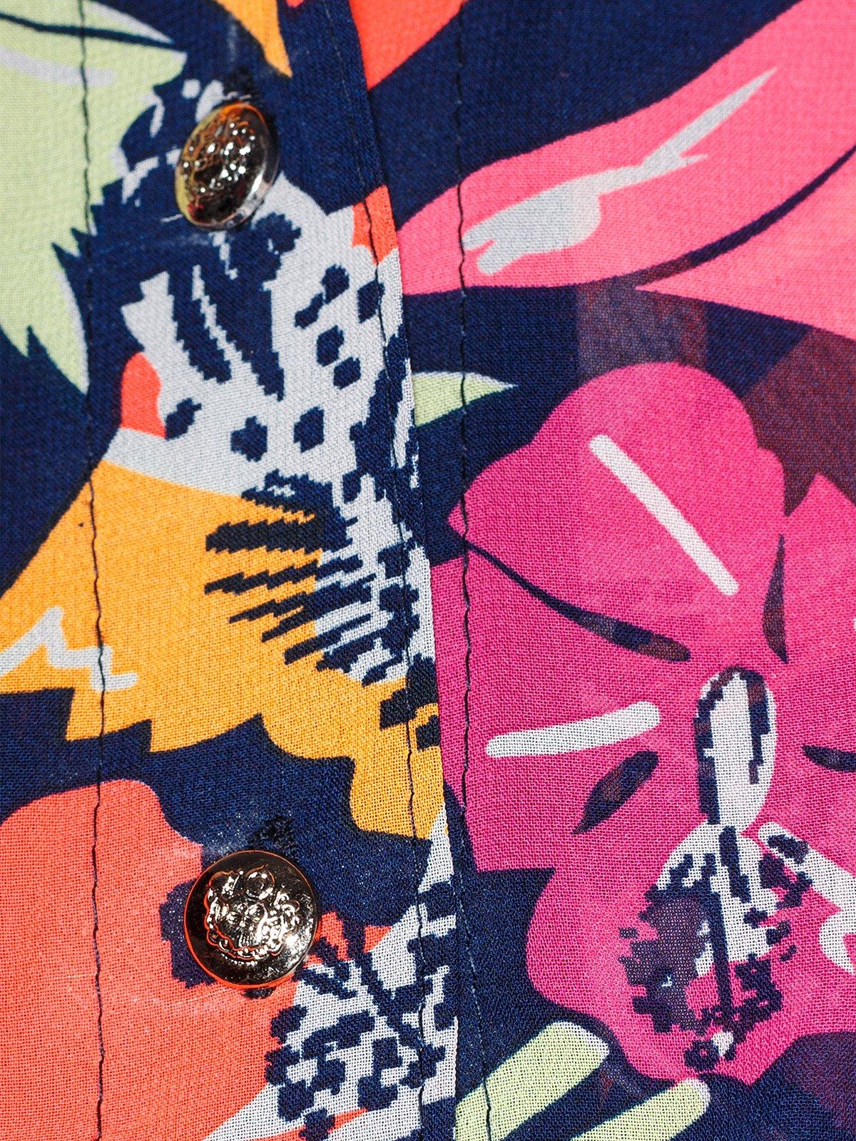 Блуза темно-синяя с цветочным принтом | 2273972 | фото 5