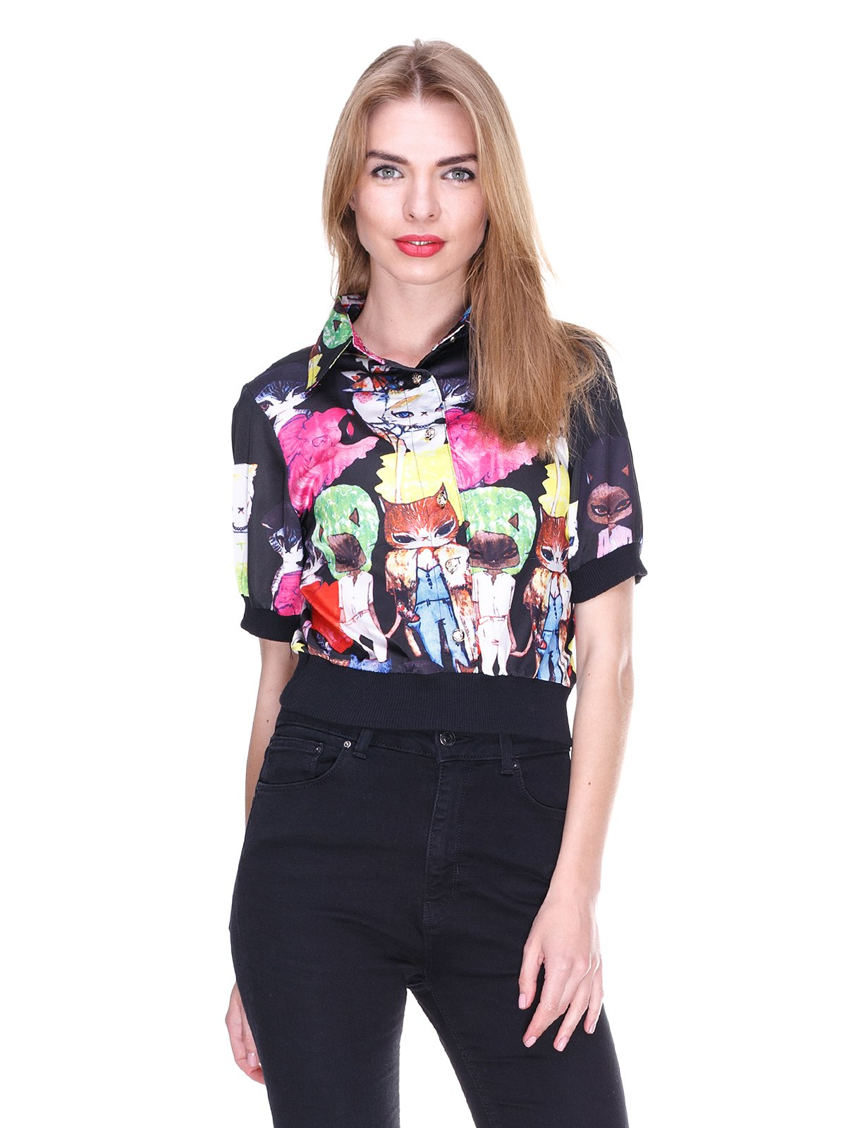 Блуза черная с принтом | 2273975