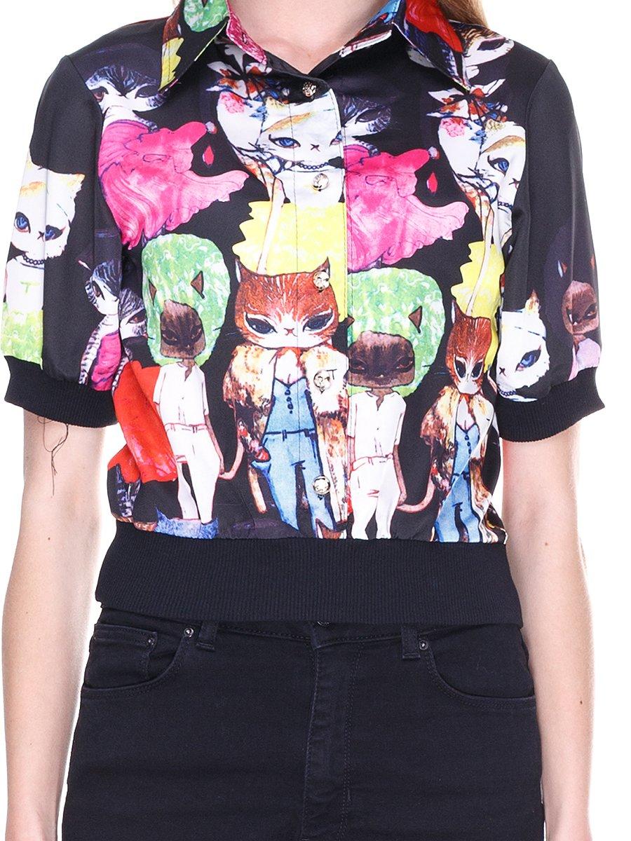 Блуза черная с принтом | 2273975 | фото 3