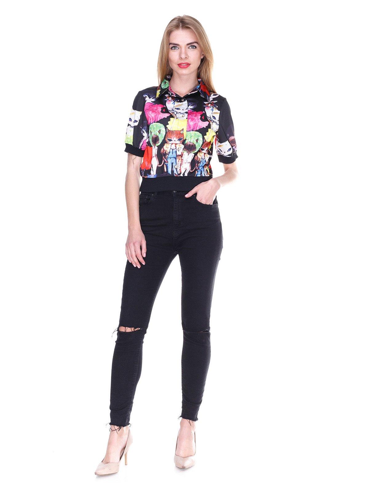 Блуза черная с принтом | 2273975 | фото 4