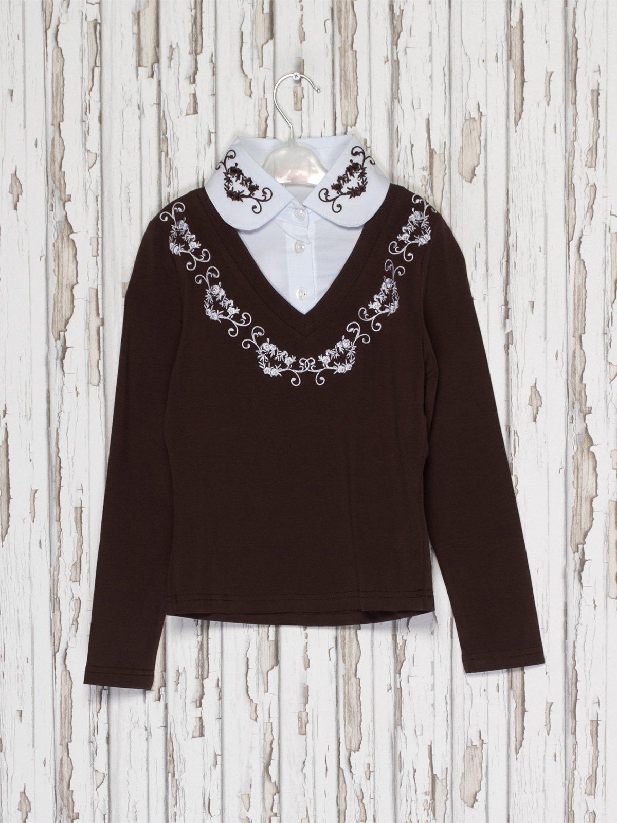 Джемпер коричневий з блузою-обманкою | 2275941