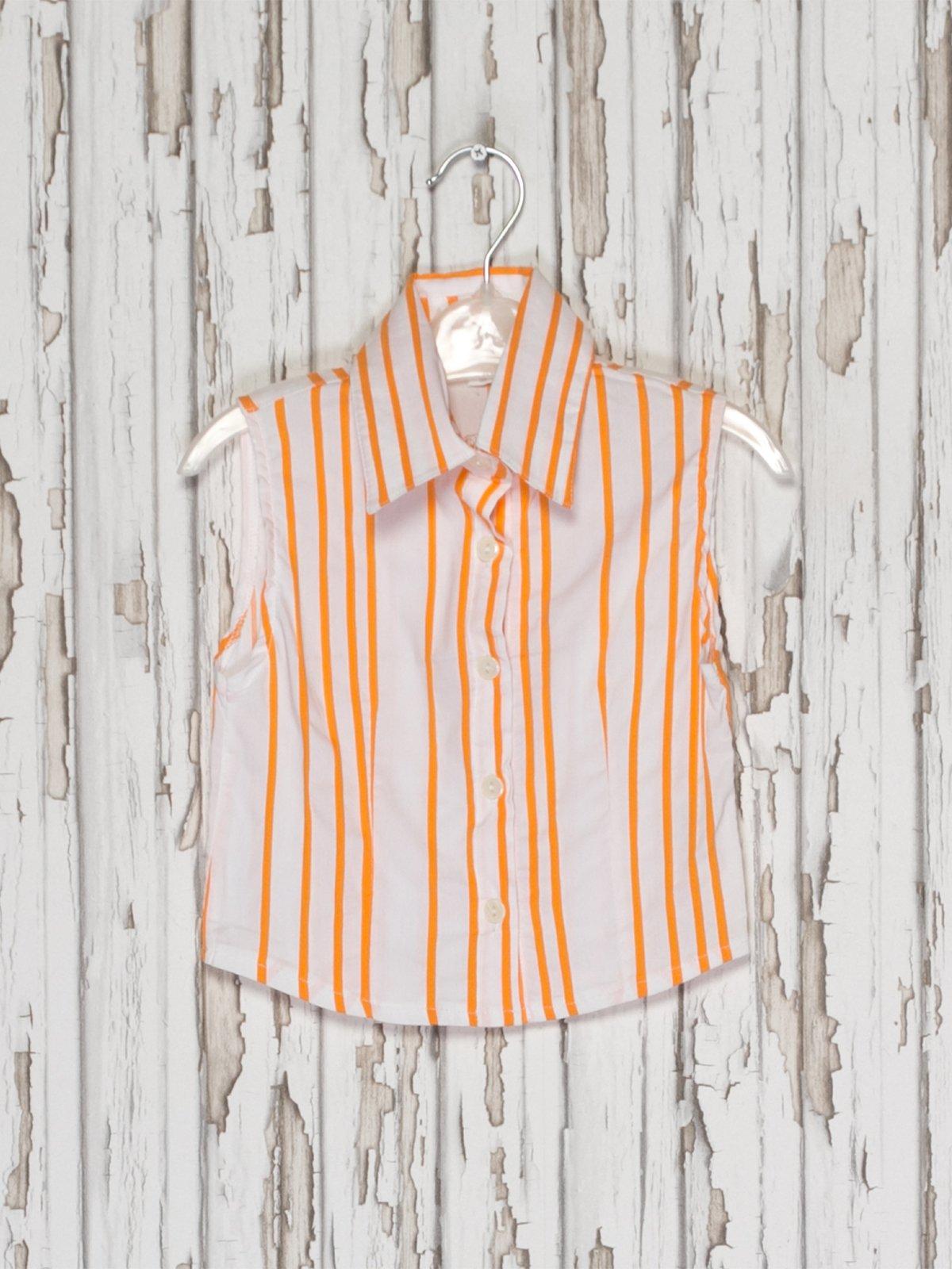 Блуза бело-оранжевая в полоску | 2276003