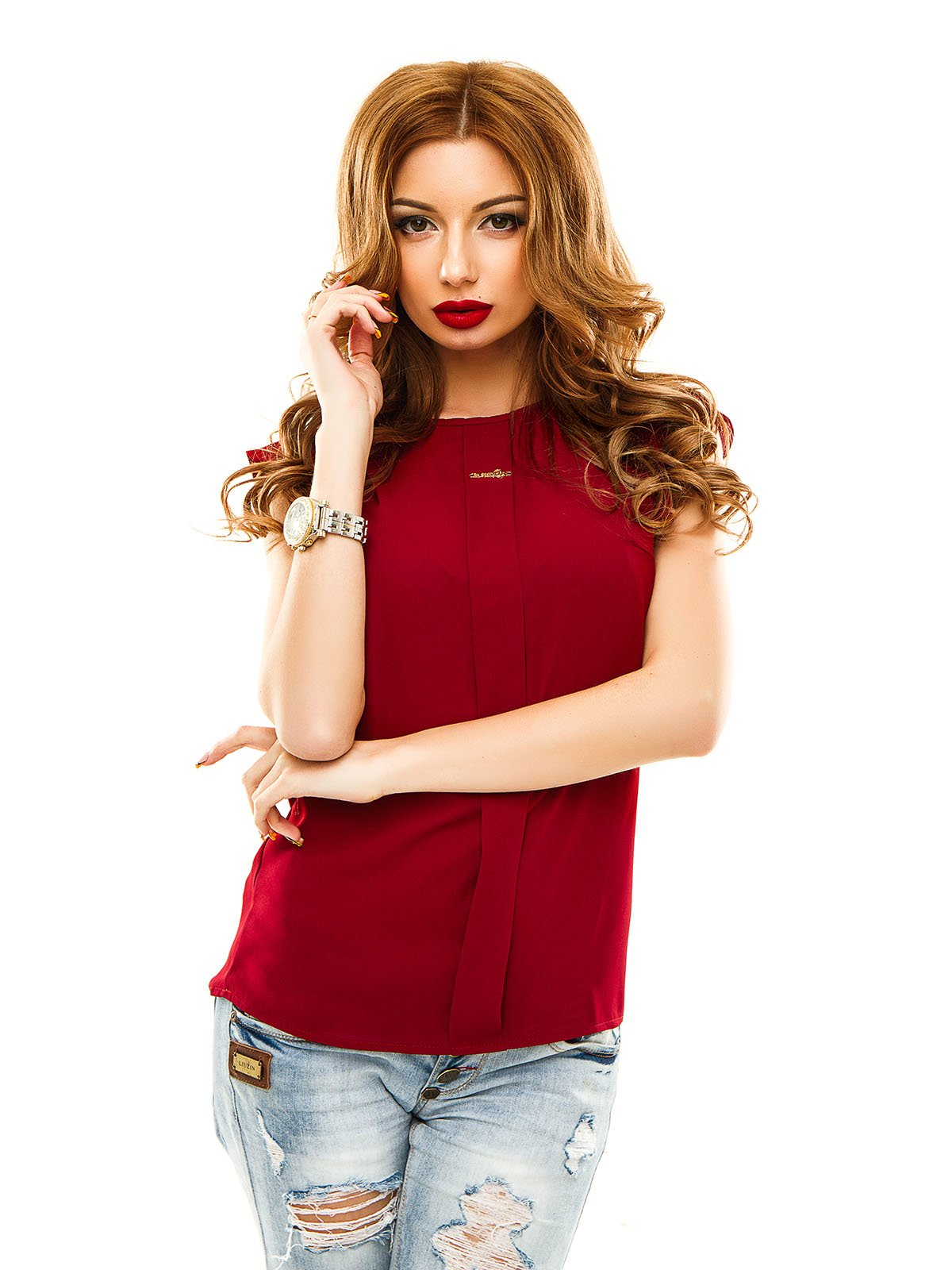 Блуза бордова | 2305399