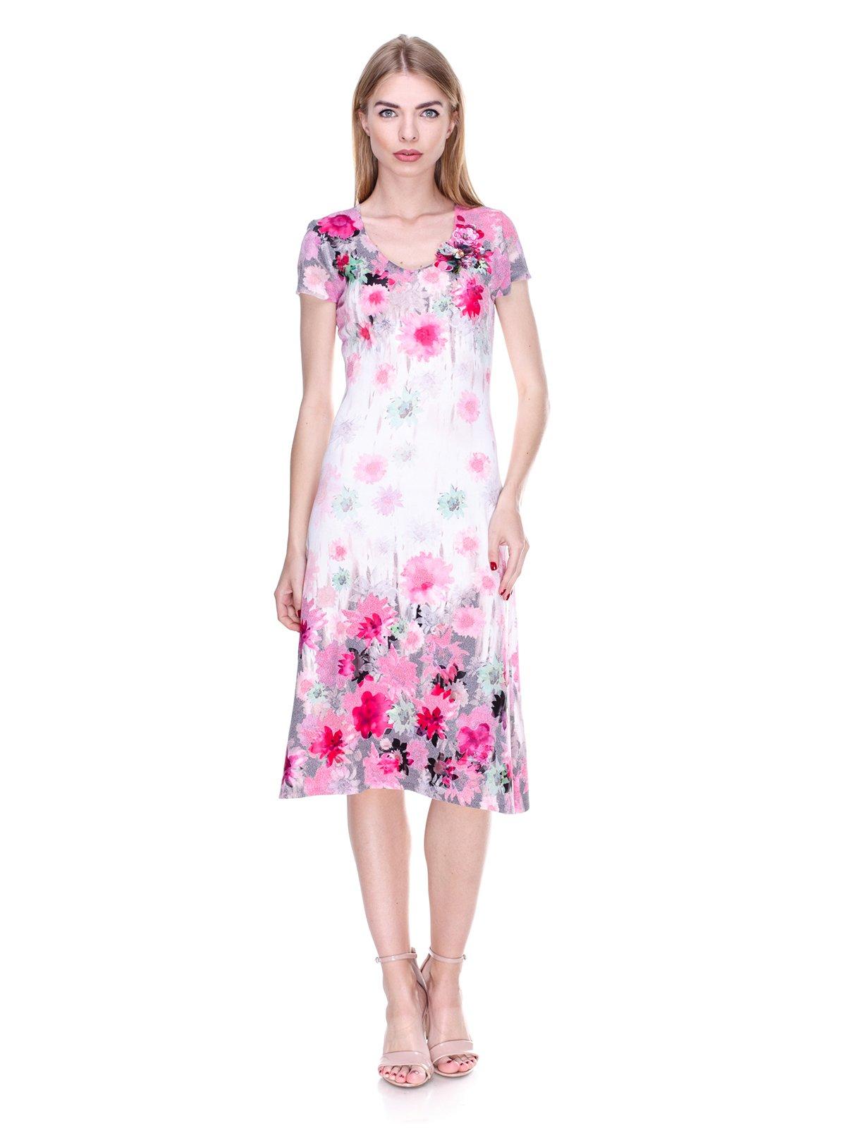 Платье бело-розовое в цветочный принт   2302491