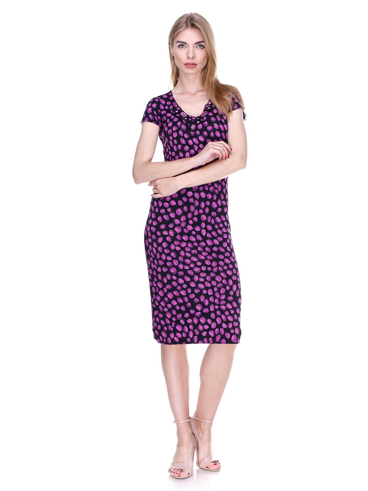 Платье черно-фиолетовое в принт   2302495