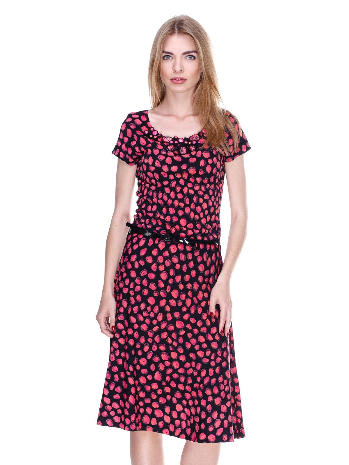 Платье черно-коралловое в принт | 2302421