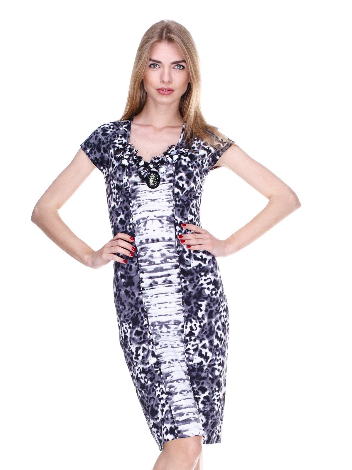 Платье черное в принт | 2302445