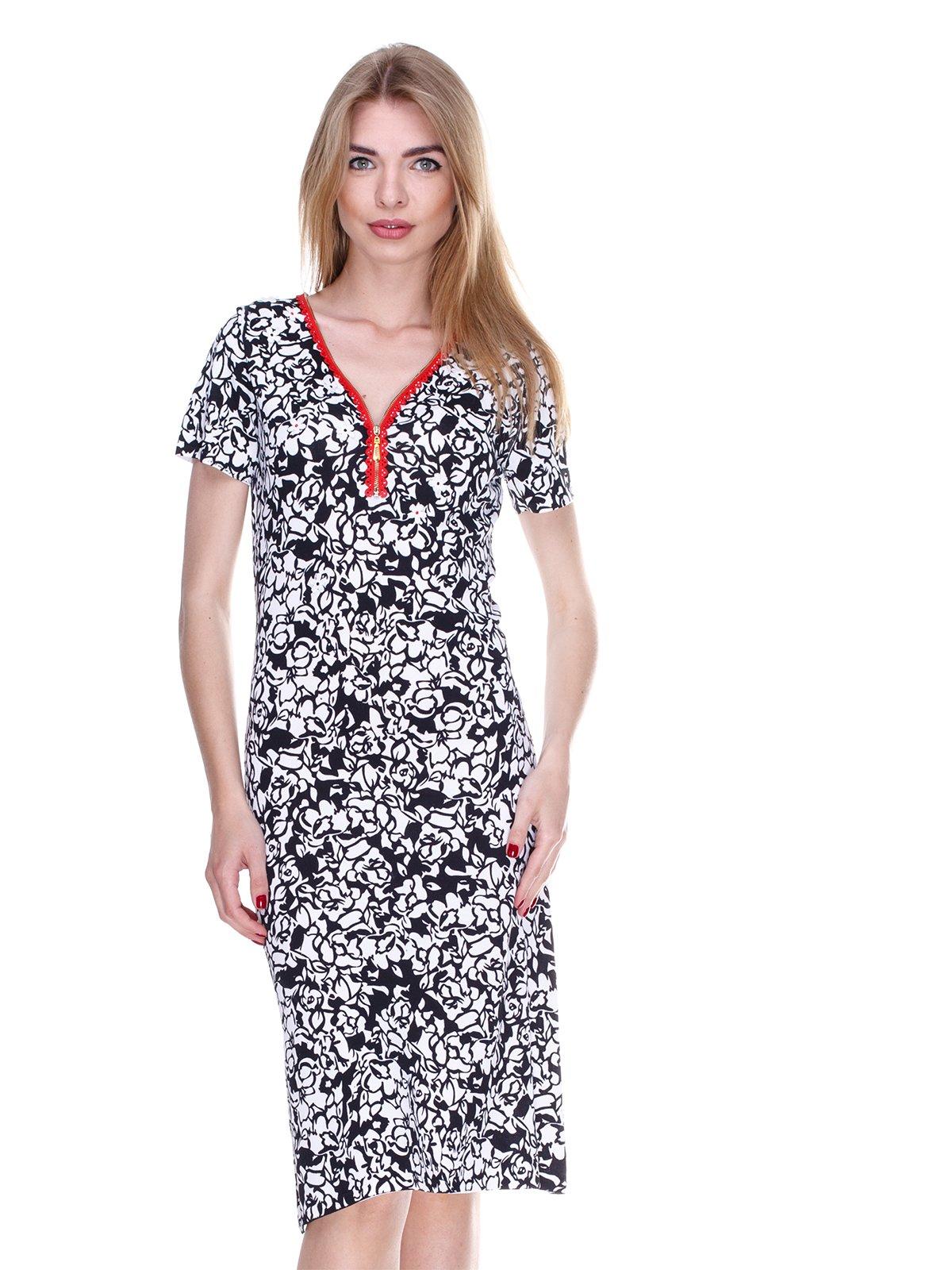 Платье черно-белое в принт | 2302533