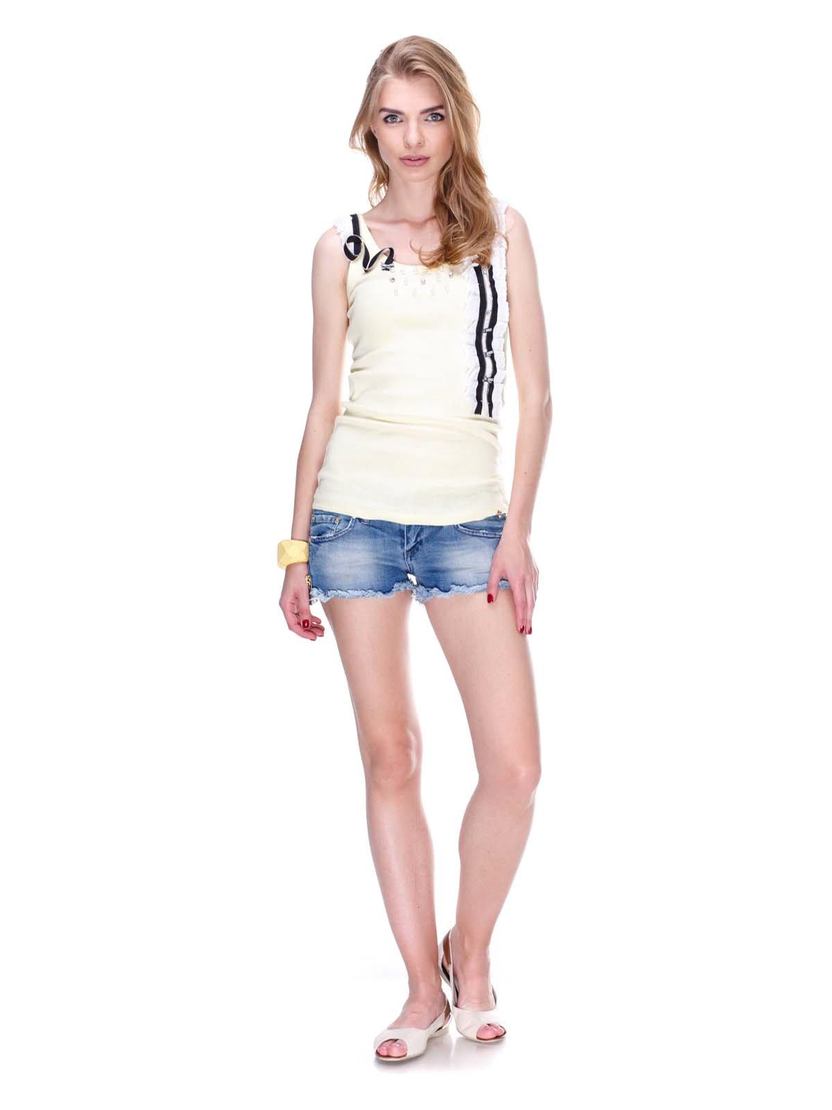 Шорты синие джинсовые с эффектом потертых | 2309216