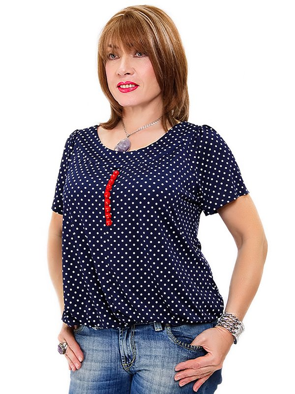 Блуза темно-синяя в горох | 2316826