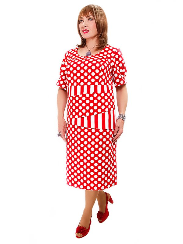Платье красное в горох | 2317833