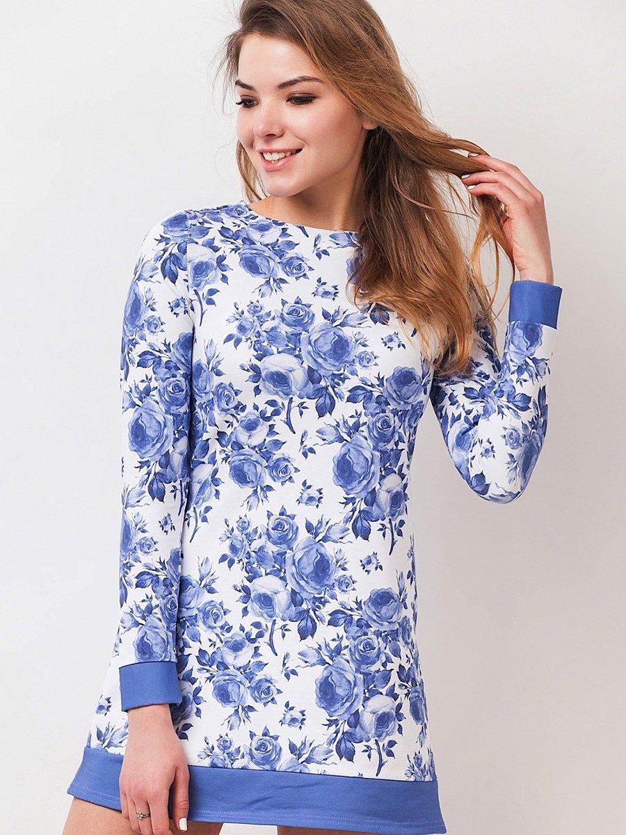 Платье бело-голубое в цветочный принт | 2317565