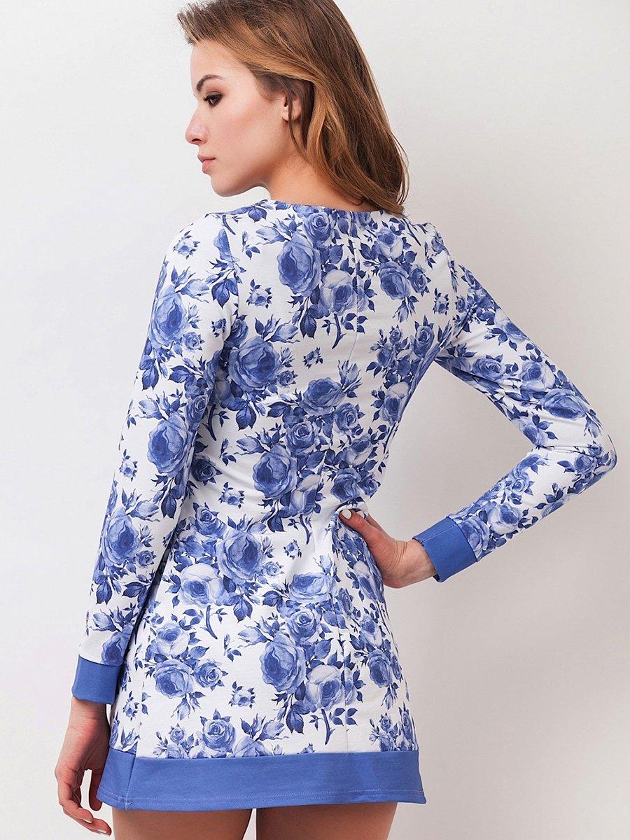 Платье бело-голубое в цветочный принт | 2317565 | фото 2