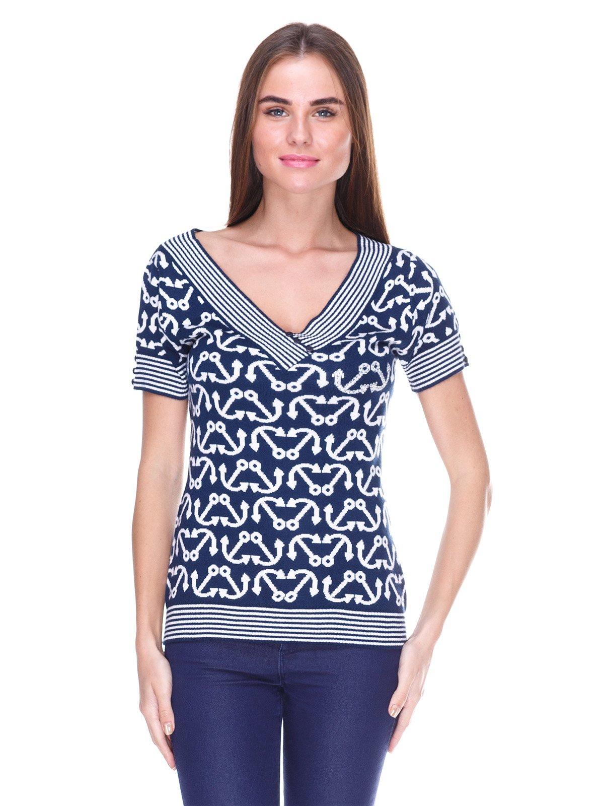 Блуза синяя в рисунок | 2316456