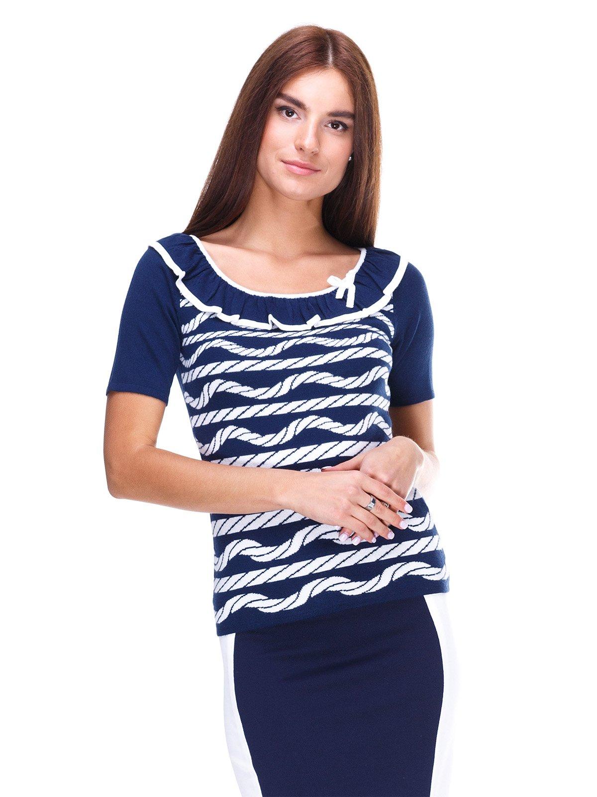 Блуза синяя в рисунок | 2316455