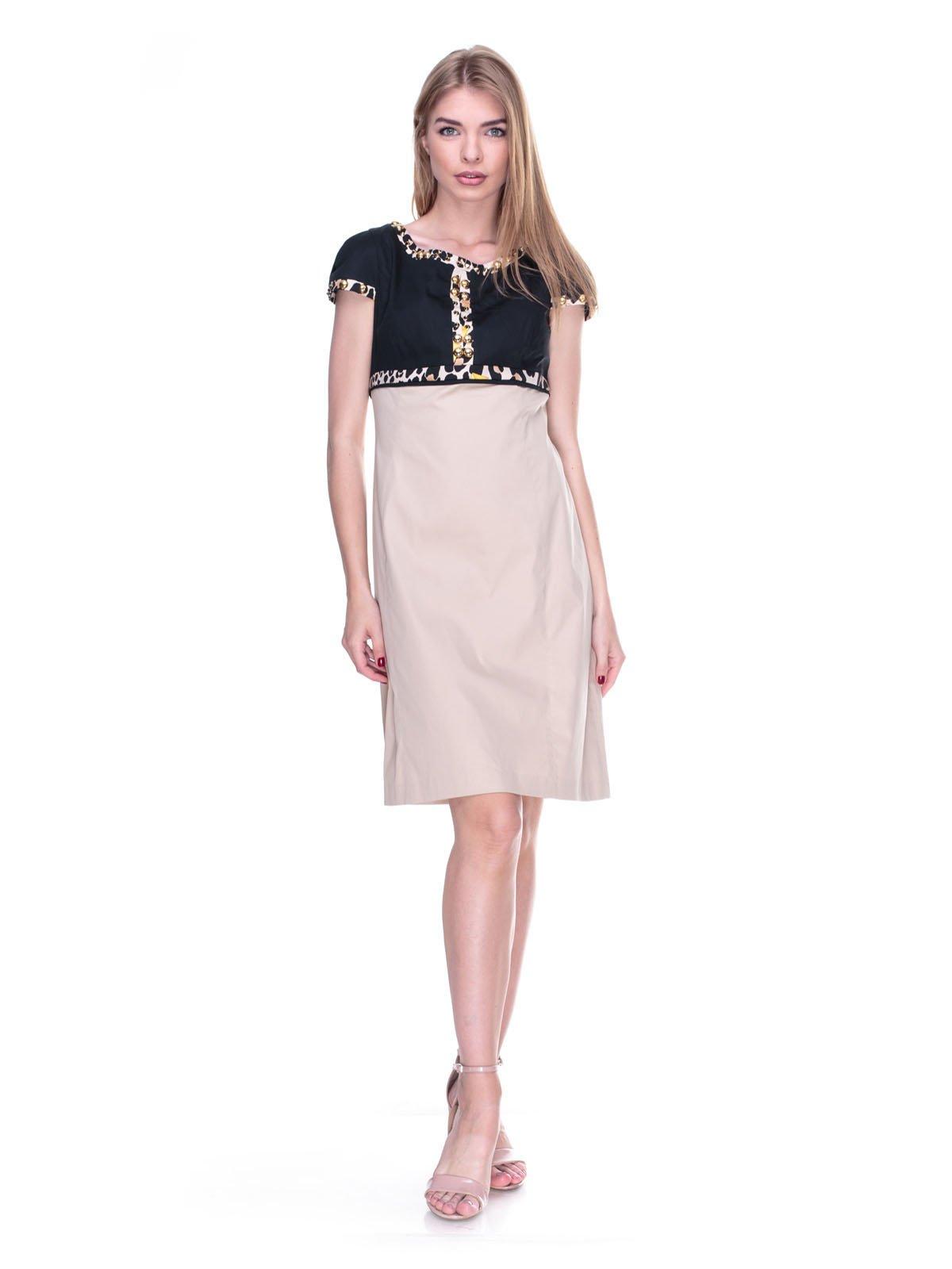 Платье черно-бежевое с принтованной отделкой | 2317037