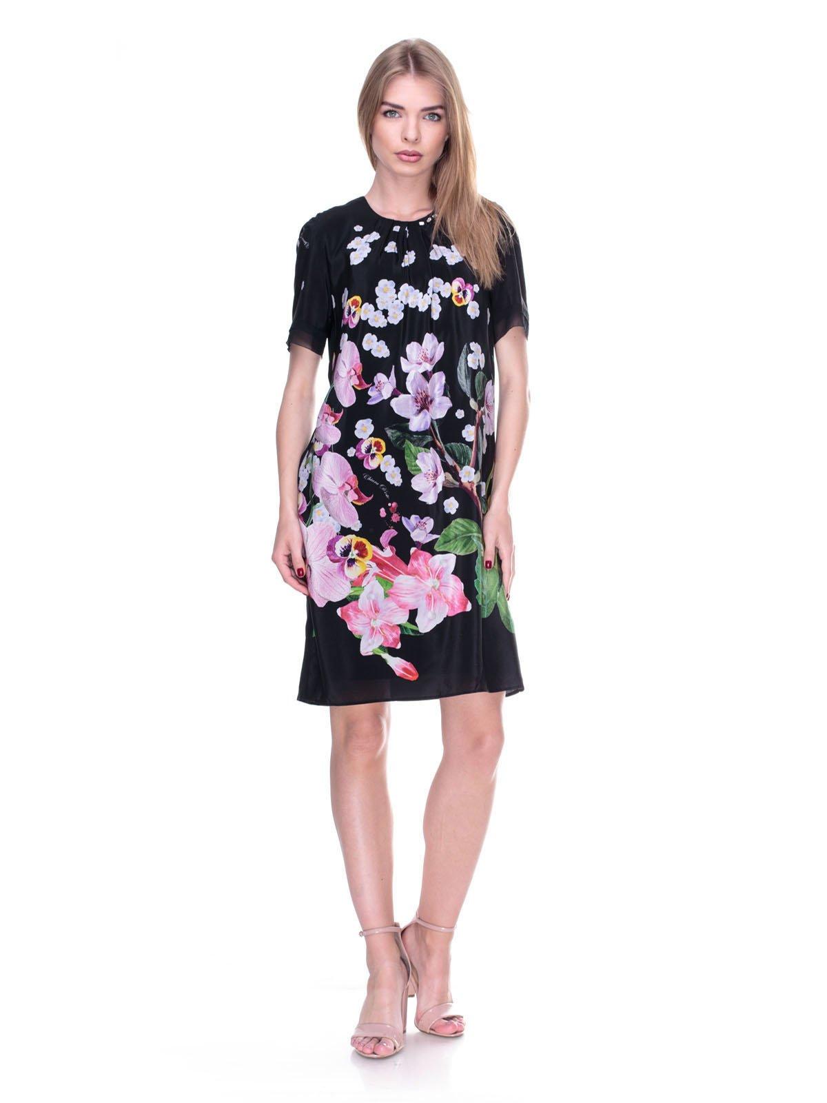Платье черное с цветочным принтом | 2317100
