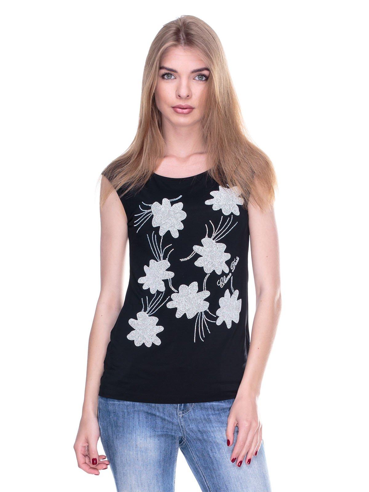 Блуза чорна з малюнком зі страз | 2317107