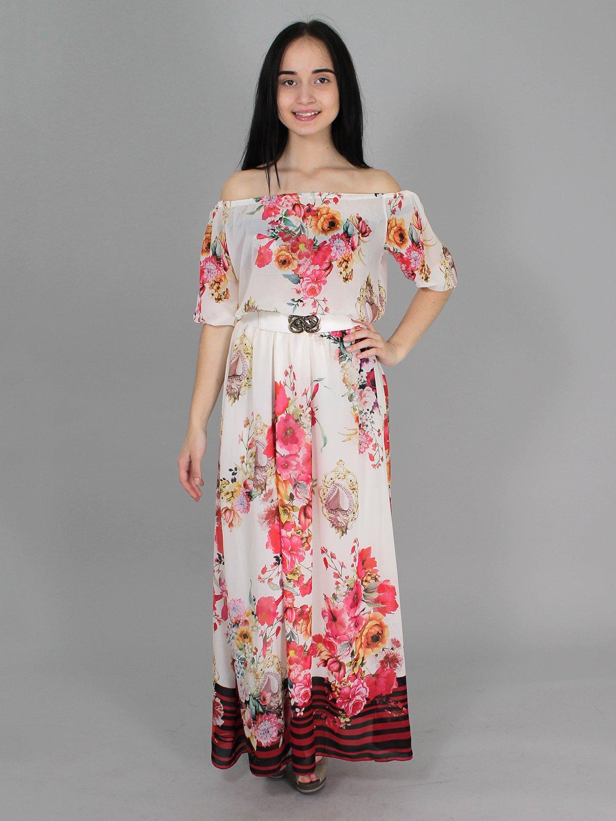 Платье молочного цвета в цветочный принт   2307158
