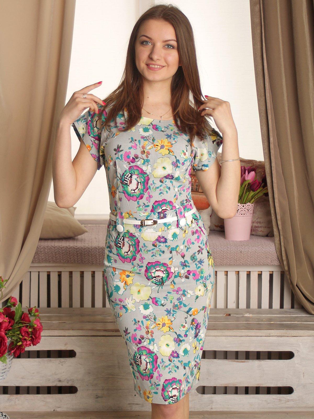 Платье серое в цветочный принт | 2307161