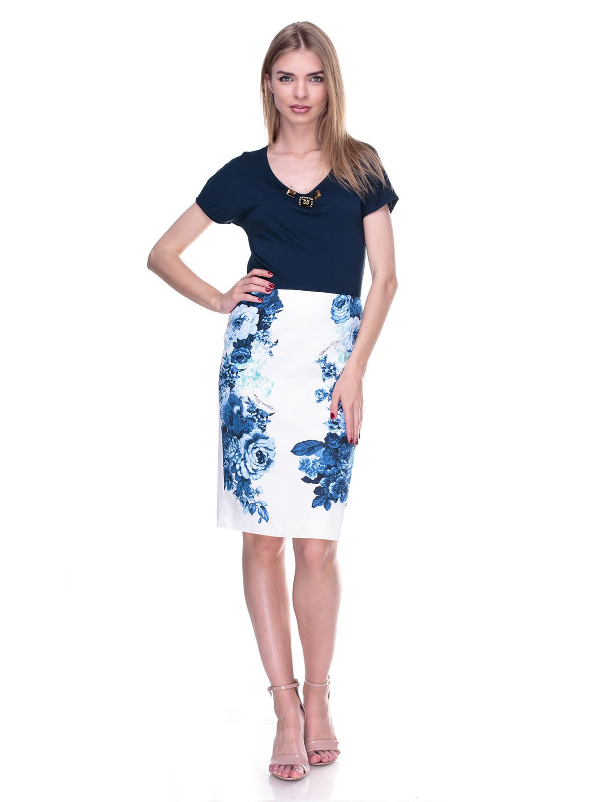Спідниця біло-синя з квітковим принтом   2317062