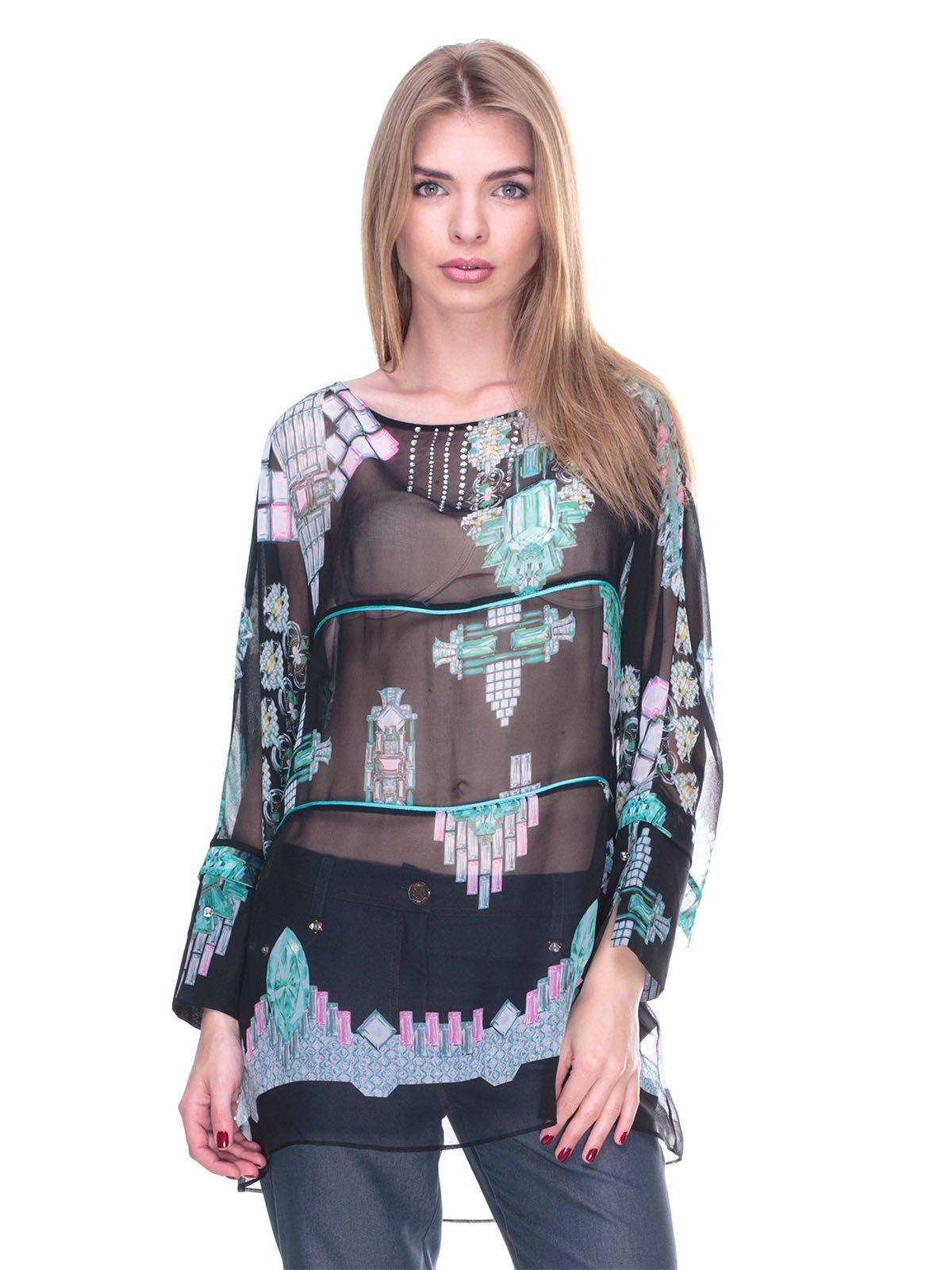 Блуза чорна з принтом | 2317079