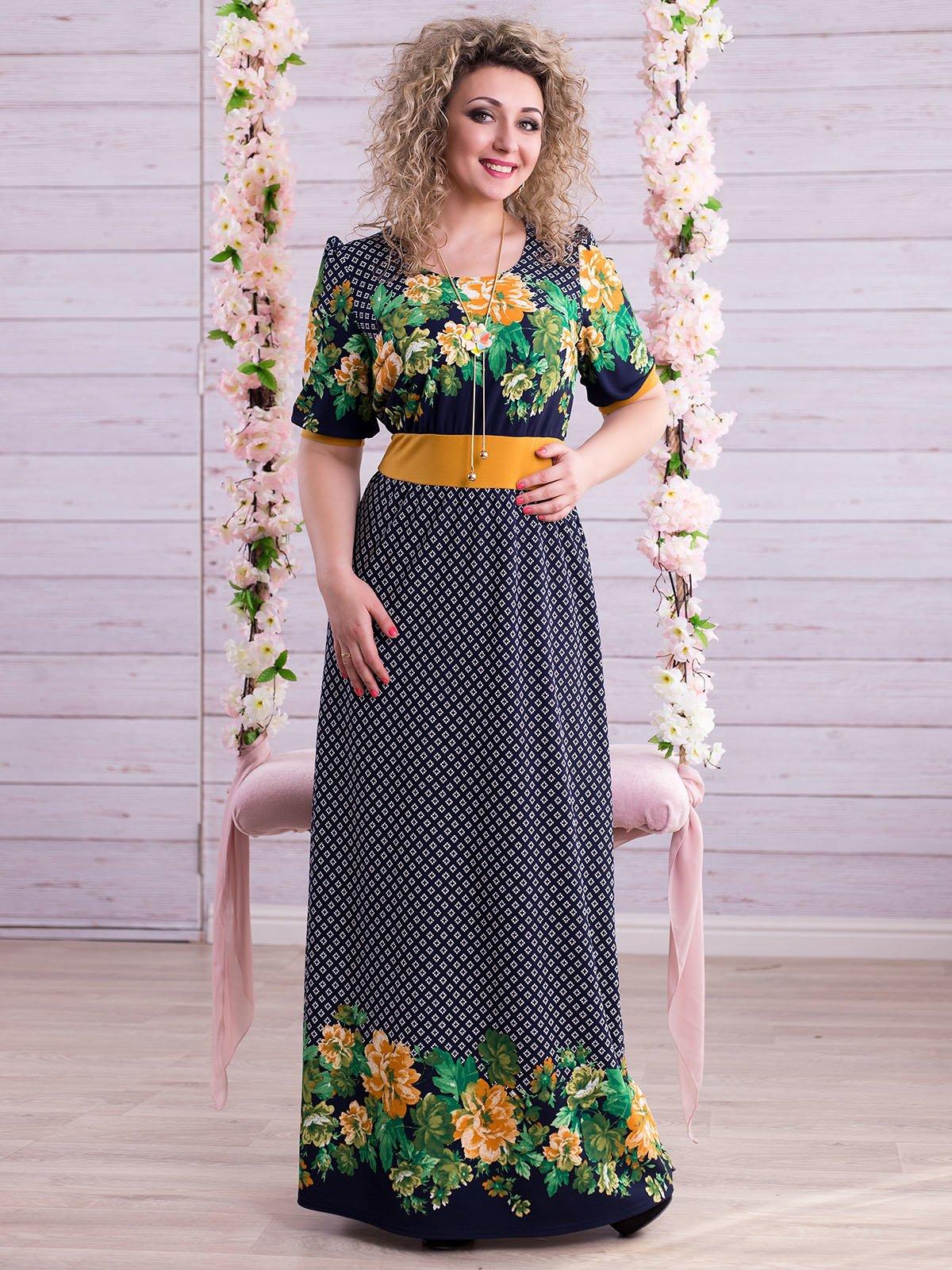 Сукня синьо-гірчичного кольору з комбінованим принтом | 2345669 | фото 2
