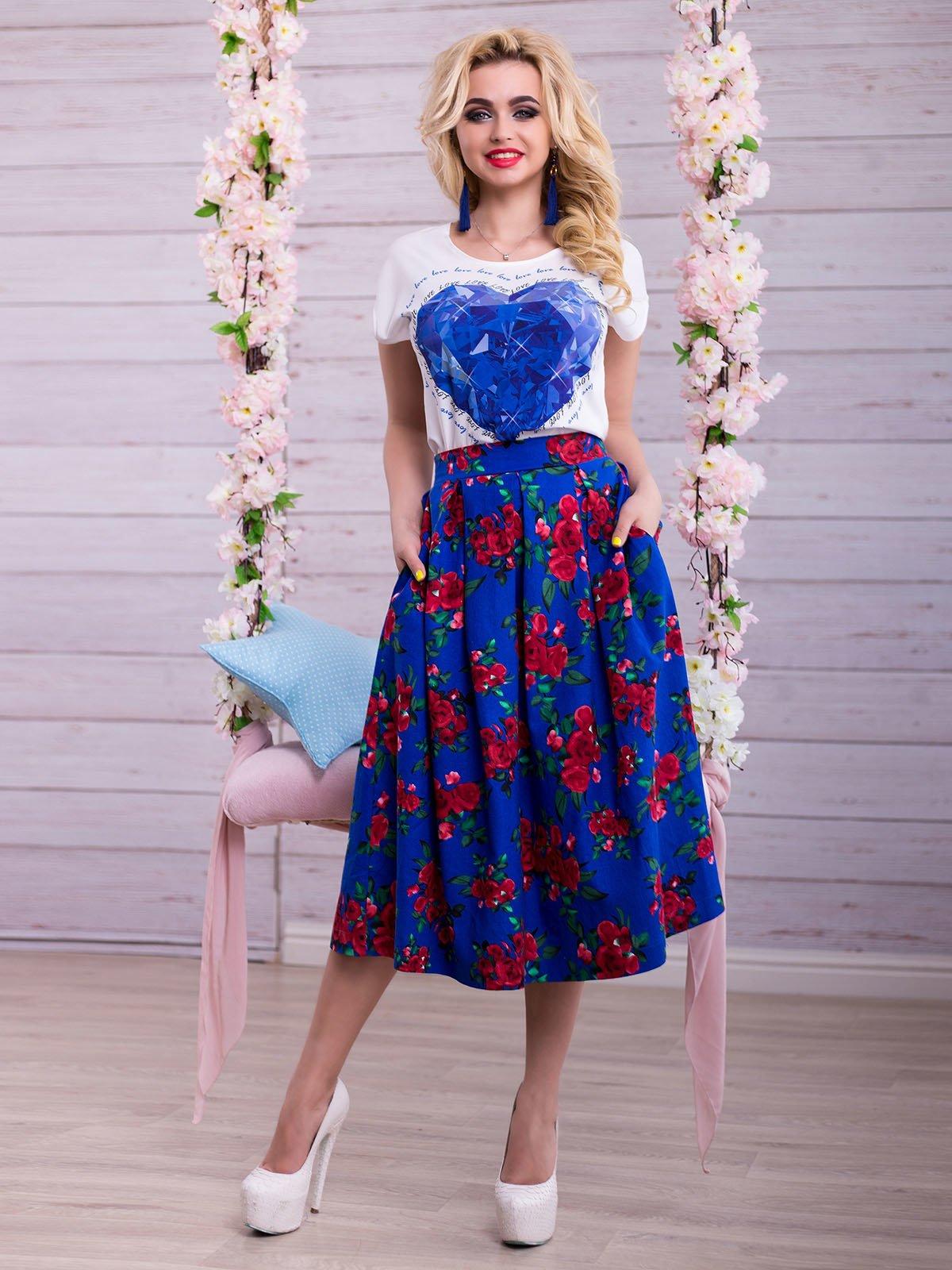 Спідниця синя в квітковий принт | 2345703