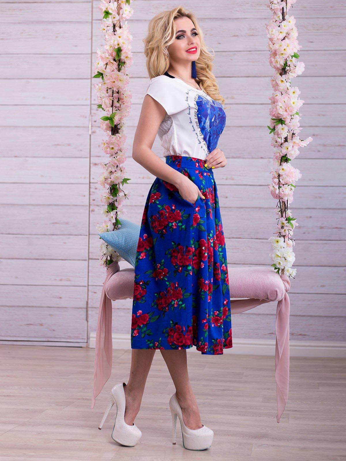 Спідниця синя в квітковий принт | 2345703 | фото 2
