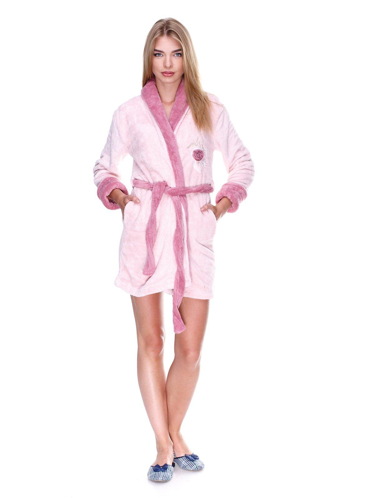 Халат світло-рожевий з декором | 2009964