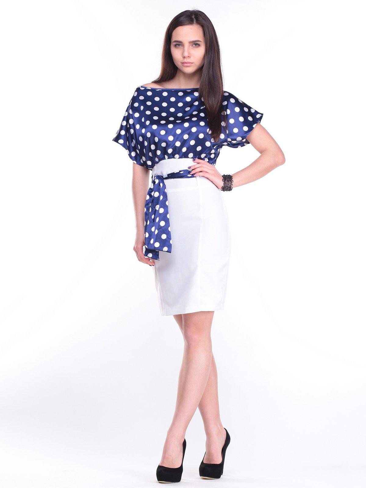 Платье сине-белое в горох | 2375132
