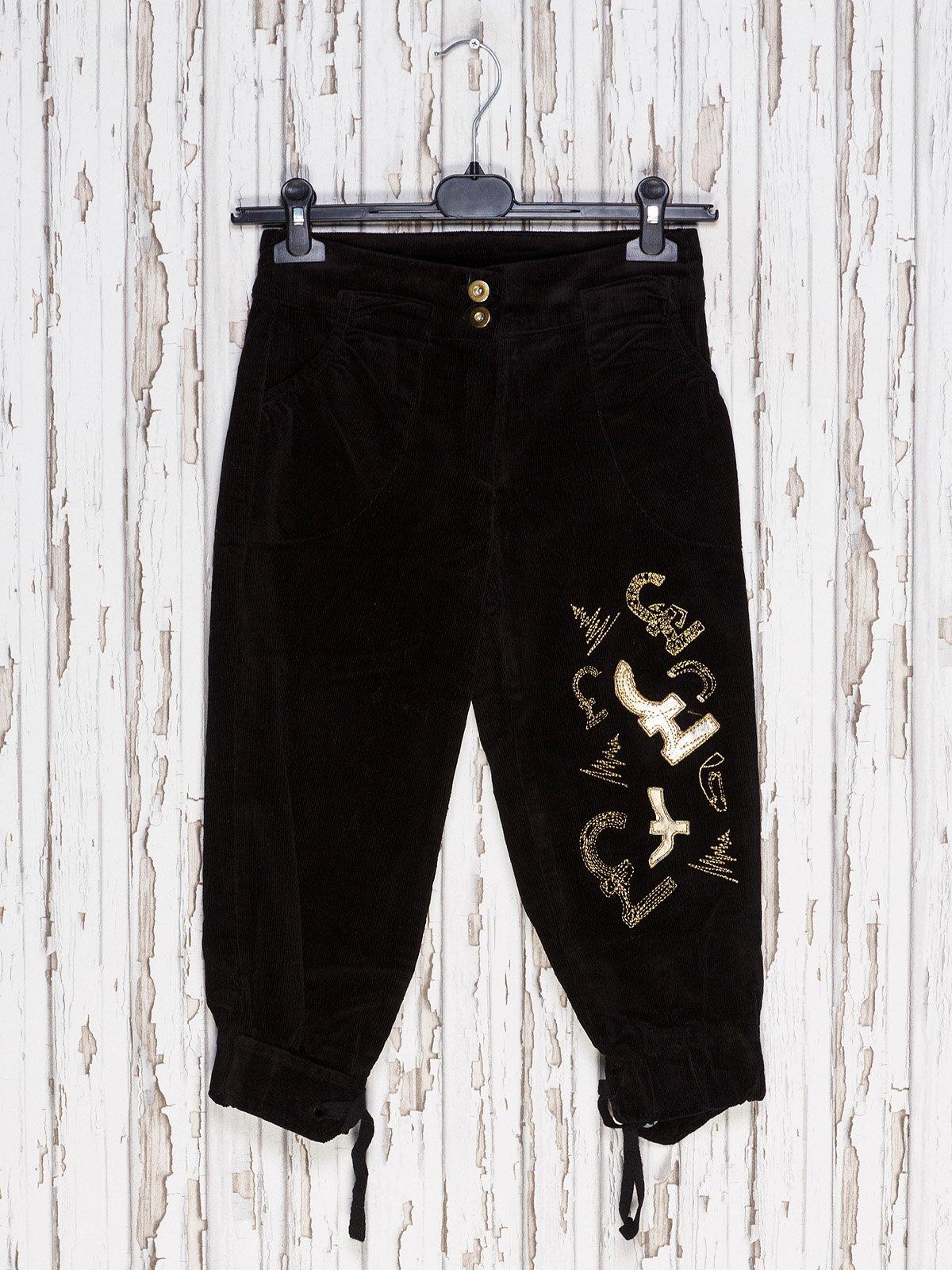 Капрі чорні з вишивкою | 1590253