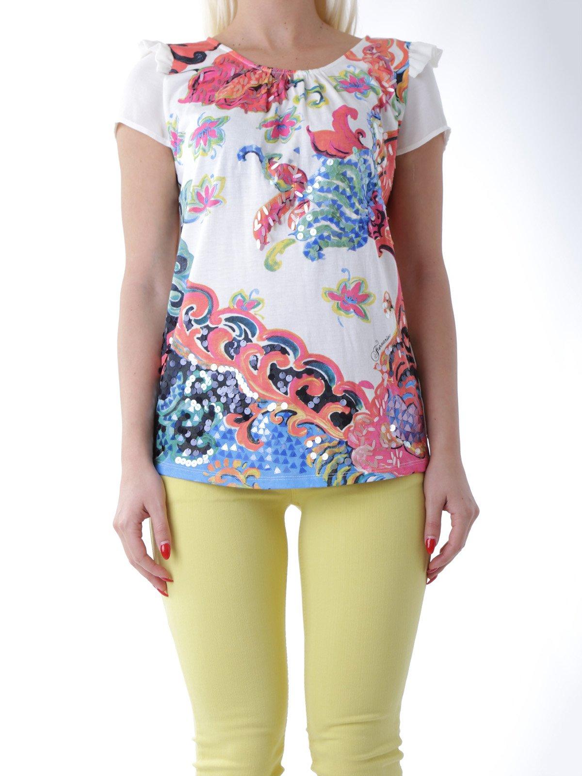 Блуза белая в принт | 2393243