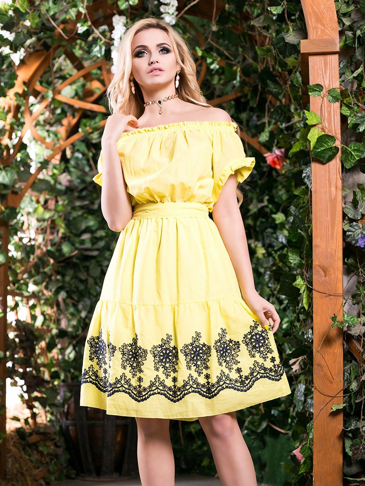 Сукня жовта з вишивкою | 2401692