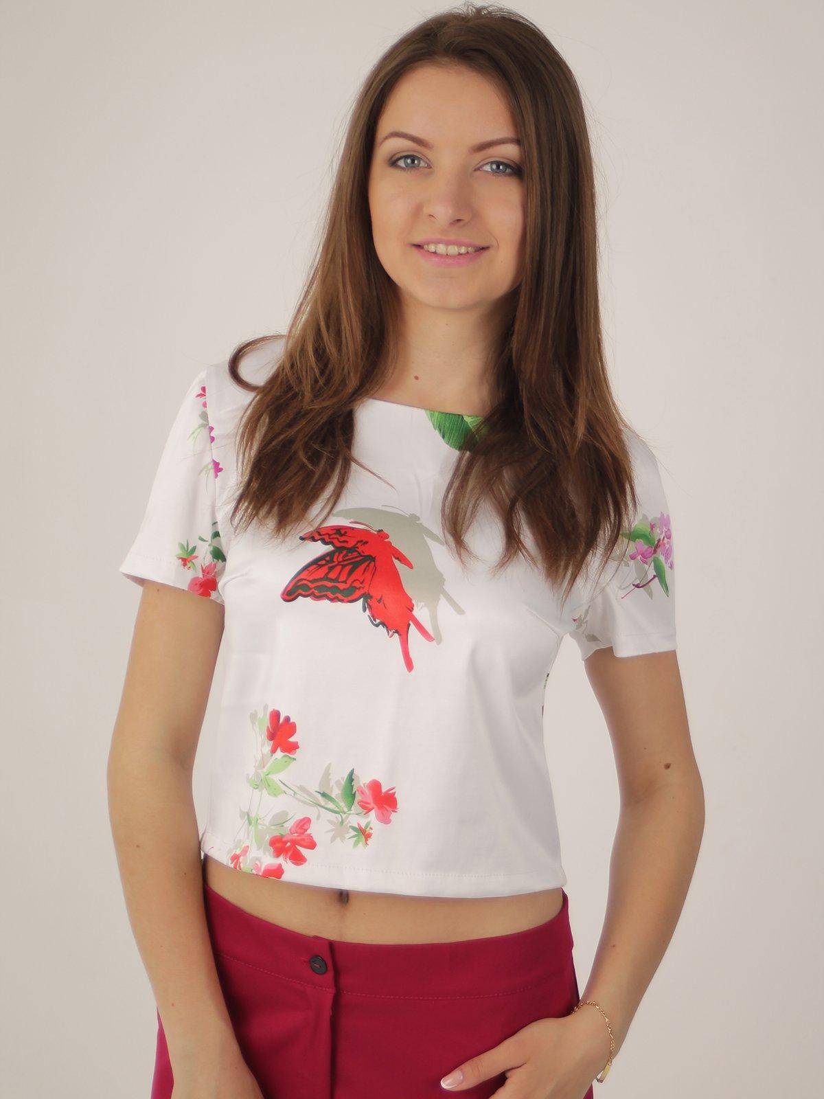 Блуза белая в принт   2416762