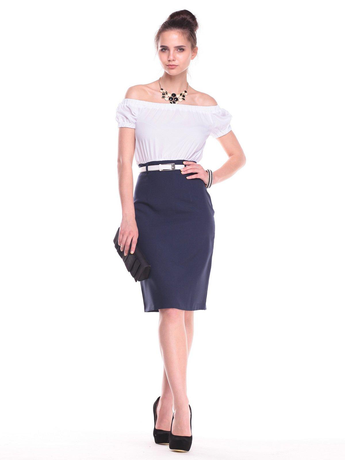 Платье бело-синее | 2439897