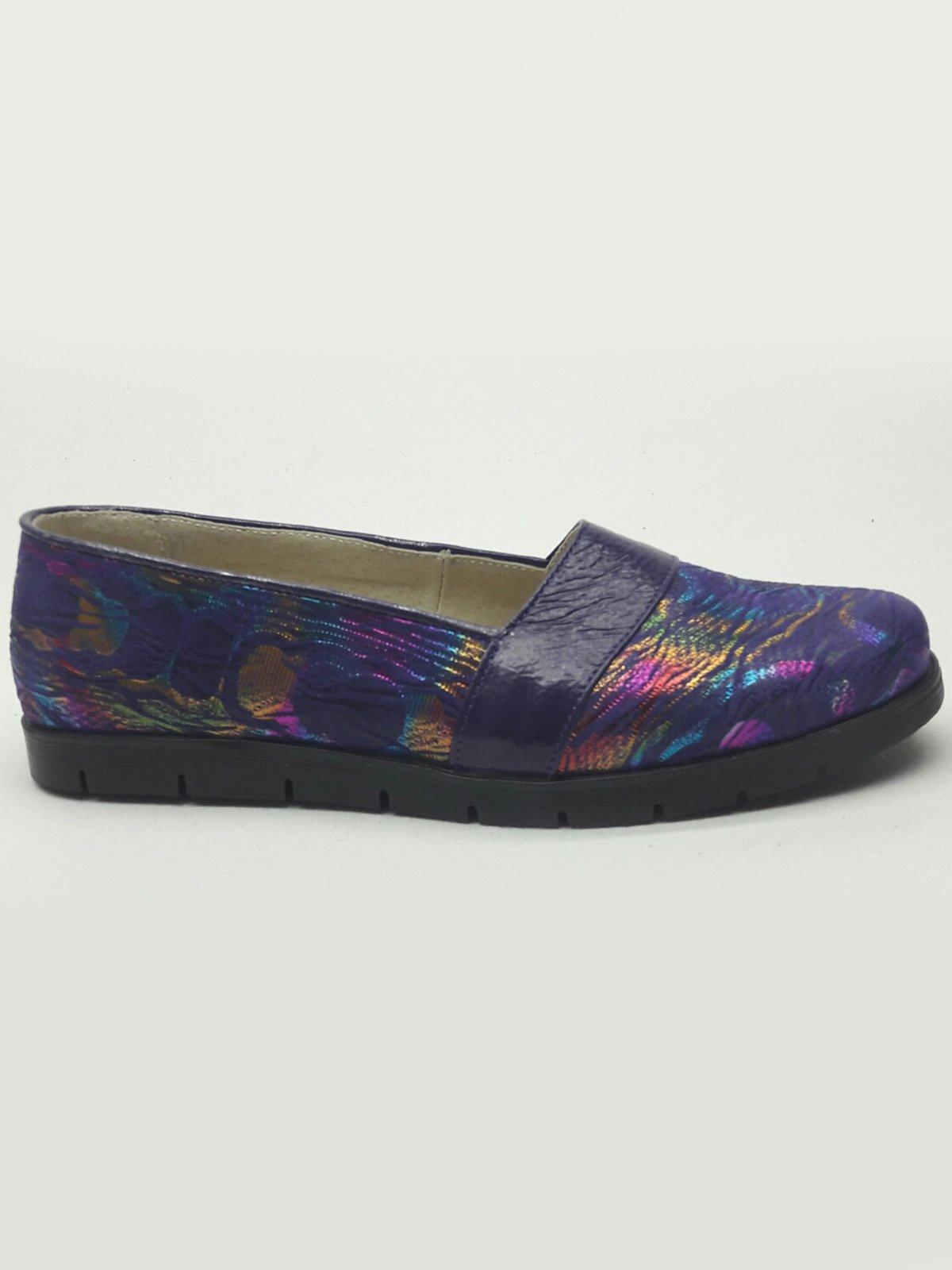 Балетки фиолетовые с принтом   2433676