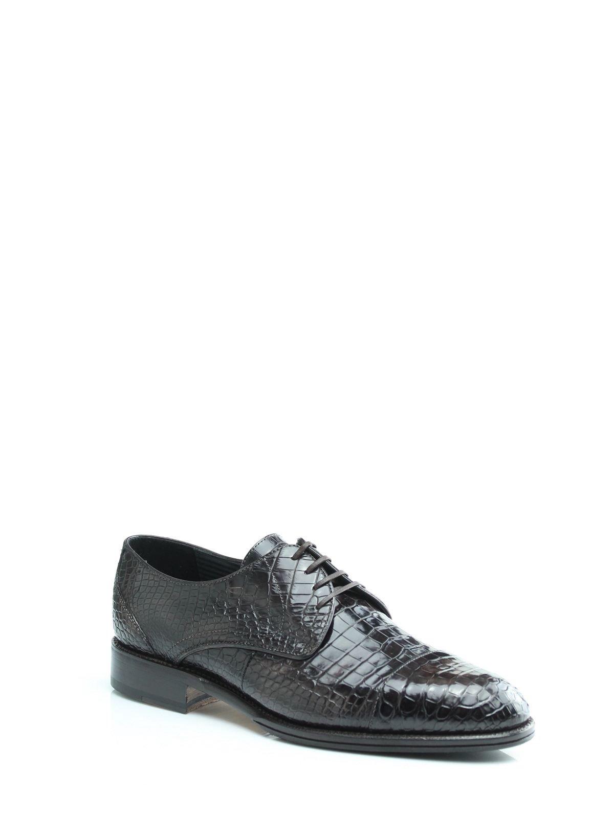 Туфлі коричневі зі шкіри крокодила | 1033668