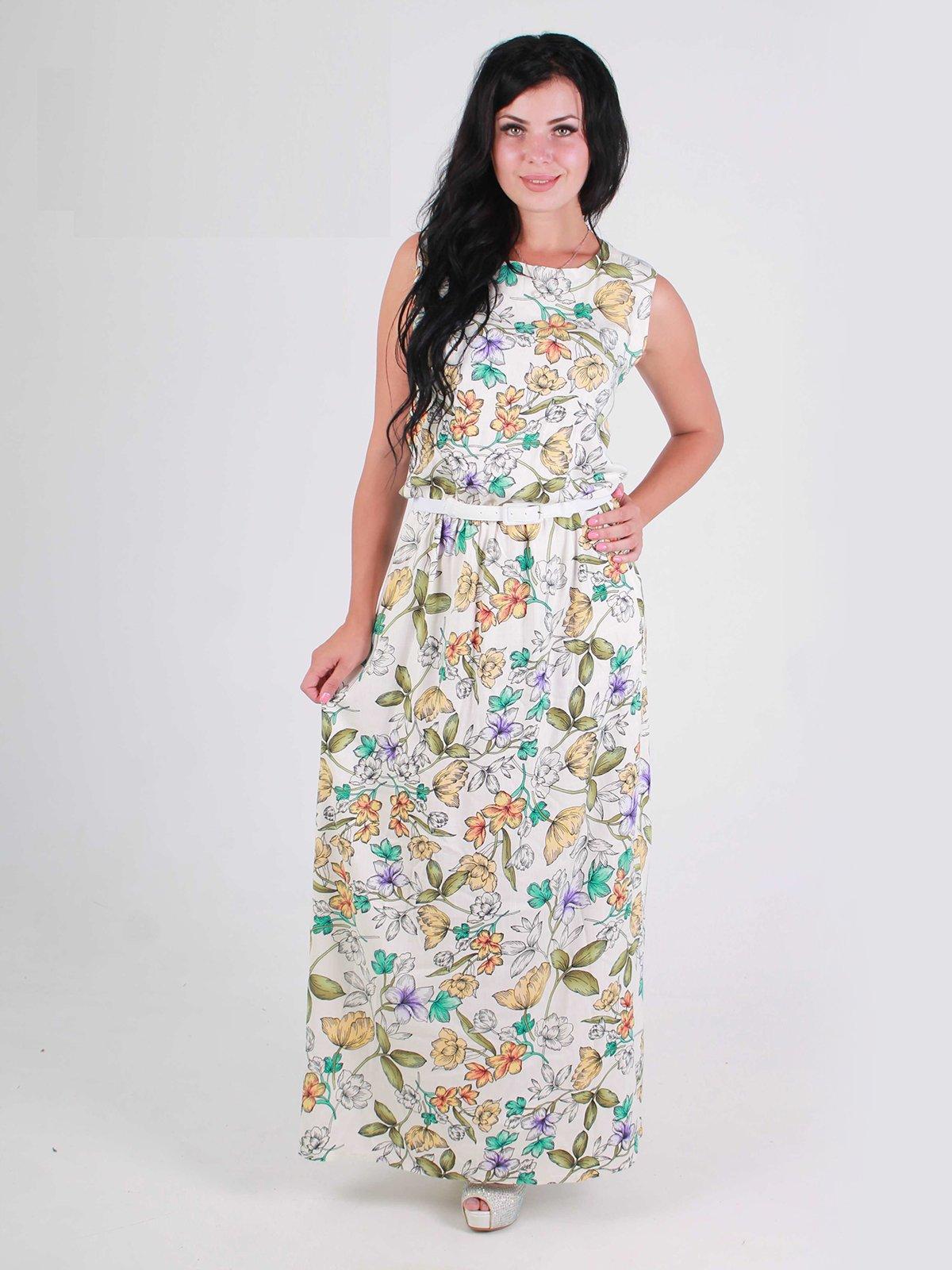 Платье молочное в цветочный принт | 2521414