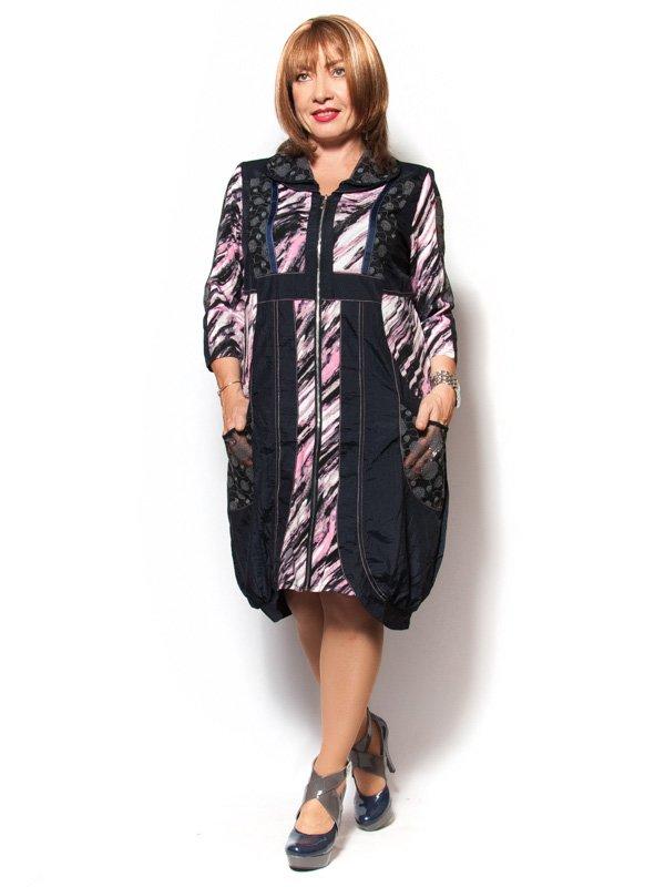 Платье черно-розовое с принтом | 2524125