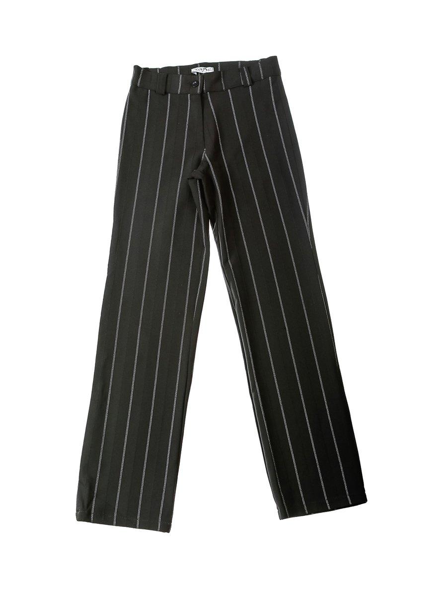 Штани чорні у смужку | 2500544