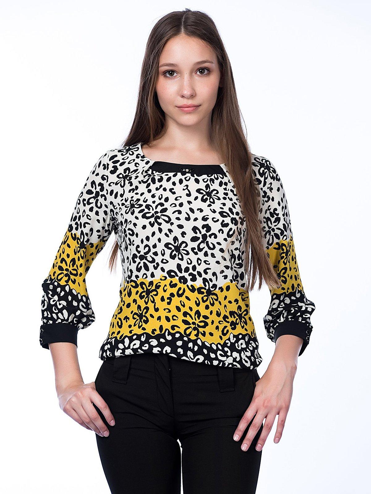 Блуза трехцветная в цветочный принт | 2539939