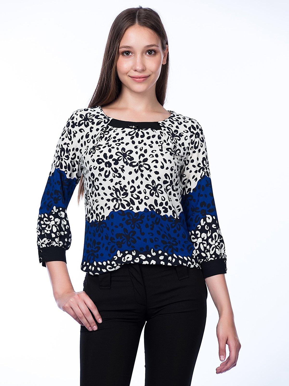 Блуза трехцветная в цветочный принт | 2539940