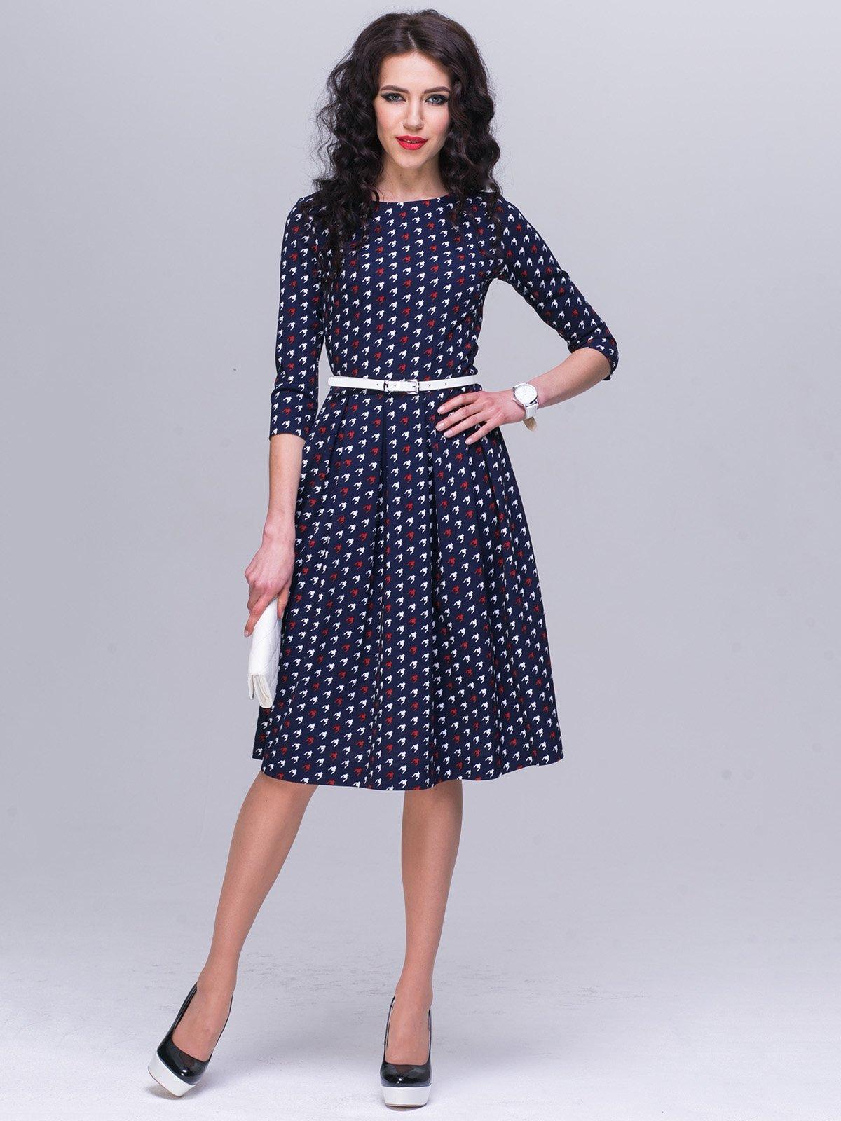 Платье синее в принт | 2552044