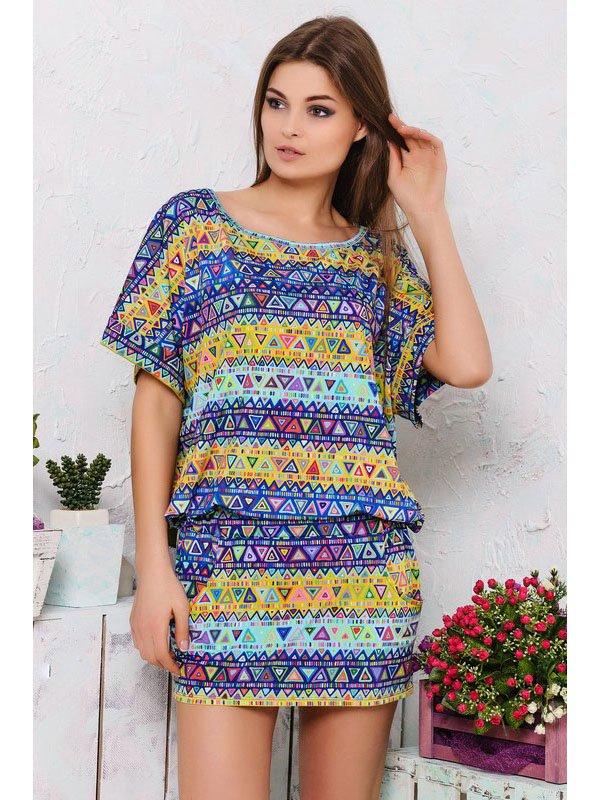 Платье разноцветное в принт | 2559530